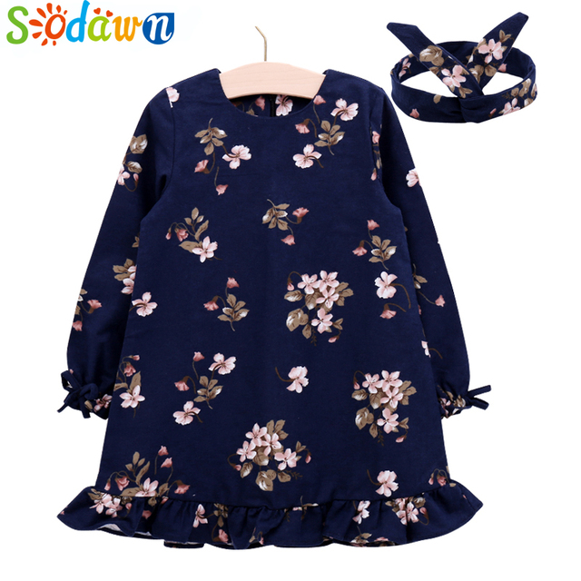 606257f30ff0 Sodawn Spring Autumn Baby Girls Clothes Printed dress +Hair Bband Girls  Dress Sweet Fashion Children Clothing Princess Dress