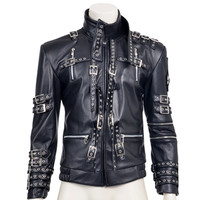 Michael Jackson Cosplay Costume jacket Fashion Rivet Decoration Black PU Faux Leather Coat Top Quality For Halloween Party Set