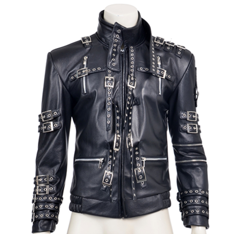 hot sale fashion rivet decoration black pu faux leather coat michael jackson cosplay costume top quality