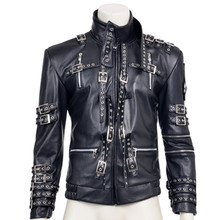 hot sale fashion rivet decoration black pu faux leather coat michael jackson cosplay costume top quality for halloween party set - Michaels Halloween Decorations