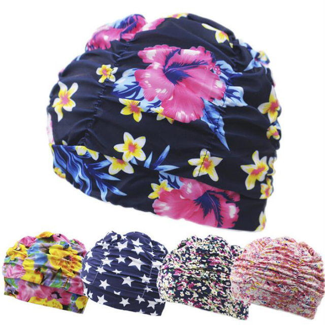 b8684d2667e Pleated Flower Petal Prints Fabric Swimming Cap Swim Pool Beach Surfing  Protect Long Hair Ears Caps Hats Plus Size for Women Men
