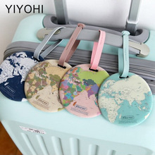 Peta Fesyen Baru Luggage Tag Wanita Travel Accessories Silica Gel Suitcase Alamat ID Holder Baggage Boarding Tag Label Portable