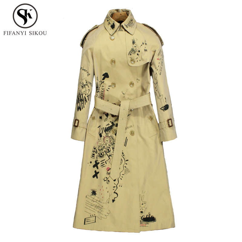 Autumn New England Style Trench coat for women Fashion Graffiti Classic Double Breasted High End customization