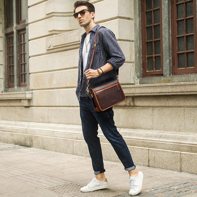 2018 New Casual Men's Shoulder Crossbody Bag High Quality Genuine Leather Luxury Satchel Bags With Phone Pocket Messenger Bag 5