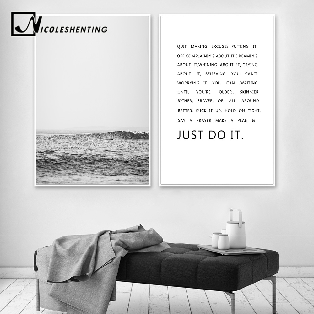 Forest Canvas Poster Nordic Motivational Quotes Wall Art Print Living Room Decor