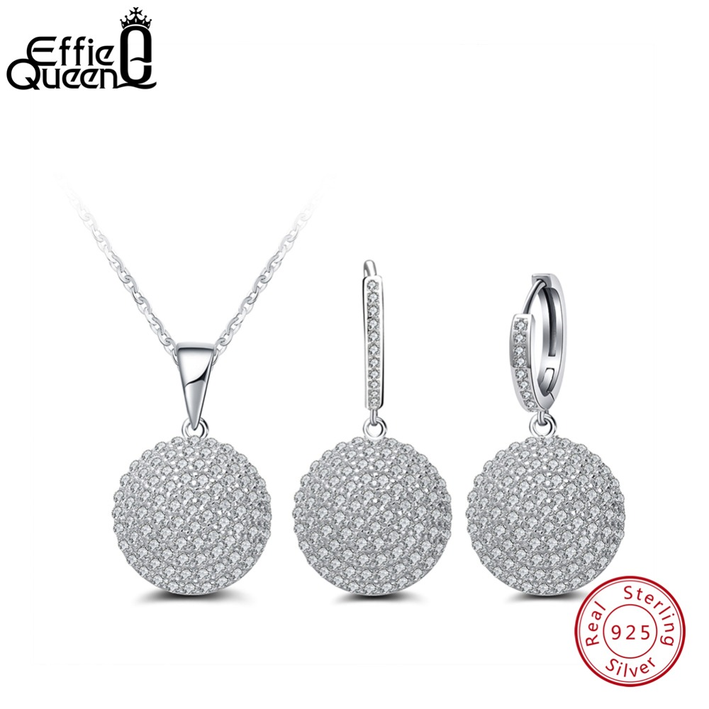 Effie Queen 2019 Cubic Zircon Pure Sterling Silver Pendant Necklace & Drop Earring Jewelry Set For Women New Arrival DSS04