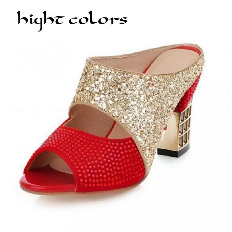 New 2018 Luxury Rhinestone High Heels Women Slippers Fashion String Beaded Red Gold Slides Sexy High-heeled Sandals Size 34-43 inc new blue green women s size xs cold shoulder sleeve beaded blouse $59