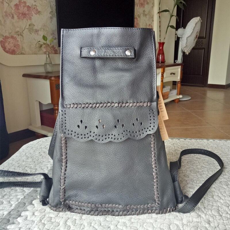 2018 New Women's Backpack 100% Genuine Cow Leather Embossed Black Color Vintage Knitting Casual Shoulder Bag Female Backpacks