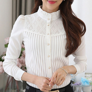 Women Vintage White Blouse Collared Pleated Chiffon Button Down Shirt Long Sleeve Lace Blouse womens tops and blouses 2020 NEW