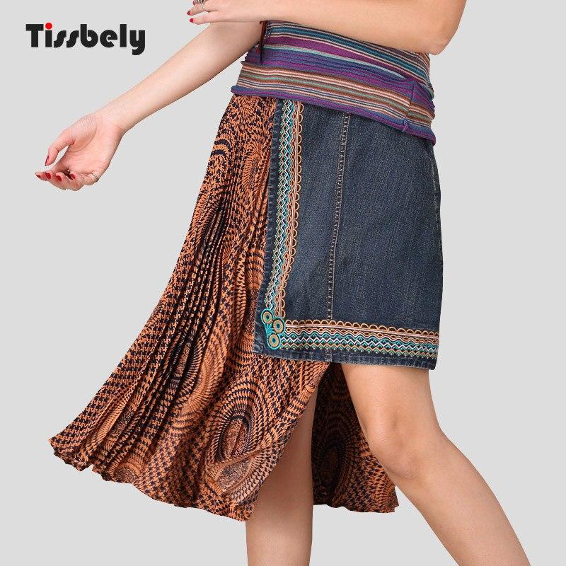 Tissbely Vintage Asymmetrical Patchwork Denim Skirt Embroidery Washing Flod Fashion Knee Length Skirt Fashion Wild Style Female