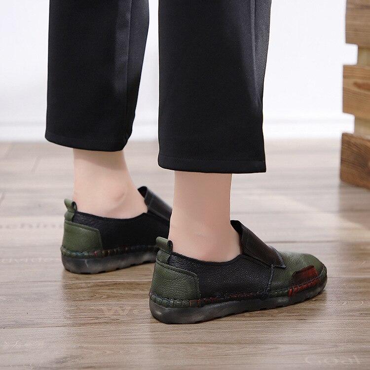 Cuir Mocassins La Slip sur Femme red À Unique Army Main Casual Plat Véritable Doux Appartements En Gktinoo De Chaussures Femmes Mère Green 6XEqvv