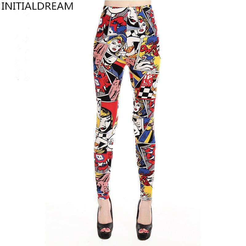 INITIALDREAM Brand 2019 Women Leggings New High Waist Cartoon comic beauty Print Trousers Soft Female Casual Sexy Elastic Pant