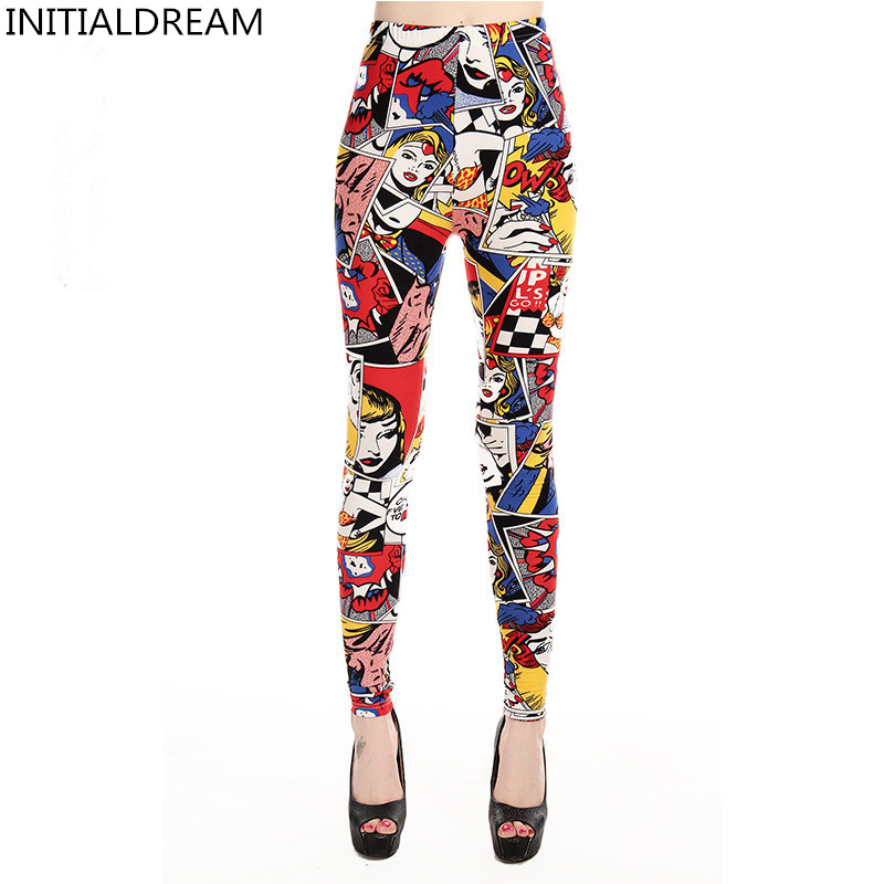 INITIALDREAM Brand 2019 Women   Leggings   New High Waist Cartoon comic beauty Print Trousers Soft Female Casual Sexy Elastic Pant