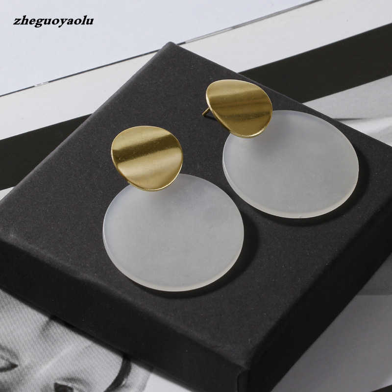 New Popular Texture Fashion Exaggerated Golden Smooth Disc Temperament Female Earrings Jewelry Accessories Oorbellen Big Earring