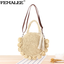 Ins Fashion New Beach Holiday Straw Bags For Women Round Pom