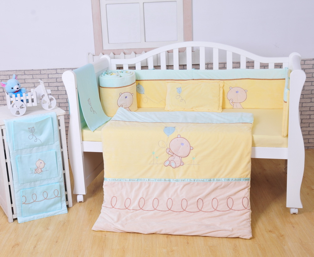 Baby girl cot bed bedding sets - 2016 New Style 7pcs Cotton Baby Cot Bedding Set Newborn Cartoon Crib Bedding Detachable Quilt Pillow