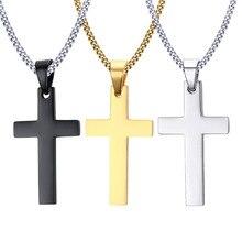 Hot výprodej Módní muži Punk Muž Černý kříž přívěšek Stříbrné zlato Černý nerezová ozdoba Kristus Ježíš Cross Pendant náhrdelník šperky