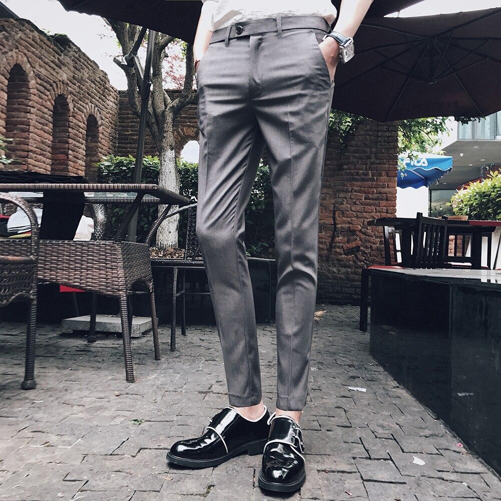 2018 summer new Korean fashion mens pants, fashion, business, body building, small pants, British casual pants, thin pants.