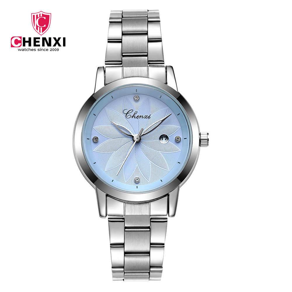 אופנה CHENXI אופנה אלגנטי נשים שעונים 303L ורוד כסף נירוסטה ריינסטון מינימליזם גבירותיי קוורץ שעוני יד
