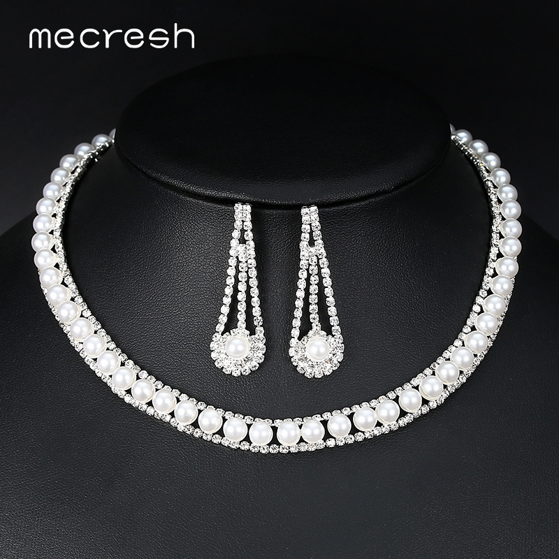 Mecresh Noble Simulated Pearl Bridal Jewelry Sets Round-Shape Crystal Necklace Sets Rhinestone Wedding Engagement Jewelry MTL480