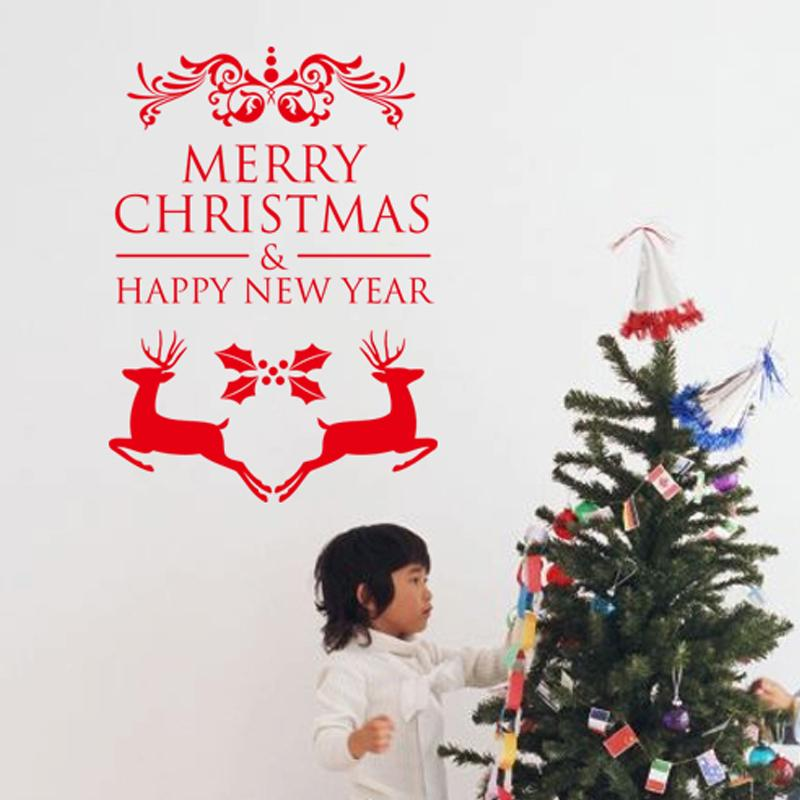 merry christmas happy new year reindeer wall stickers christian room ...
