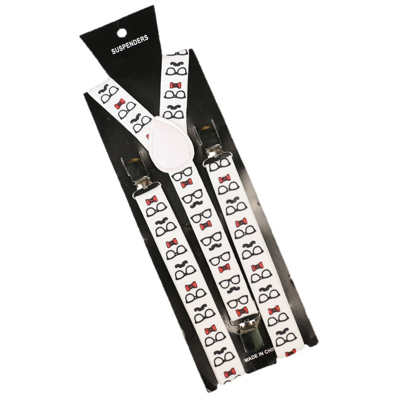 1Inch Wide Fashion Frame Pattern Print Suspender Unisex Clip-on Adjustable Elastic Slim Braces Y-Back Suspenders For Men Women