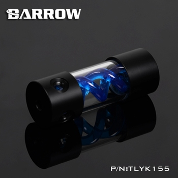 Barrow T Virus Helix Suspension Cylinder Water Tank 155mm Blue With Black Cap Water Cooling  Reservoir TLYK155