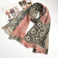 180x100 Cm Ethnic Scarves For Women Twill Cotton Hijab Totem Plaid Patchwork Lady Scarf Brand New