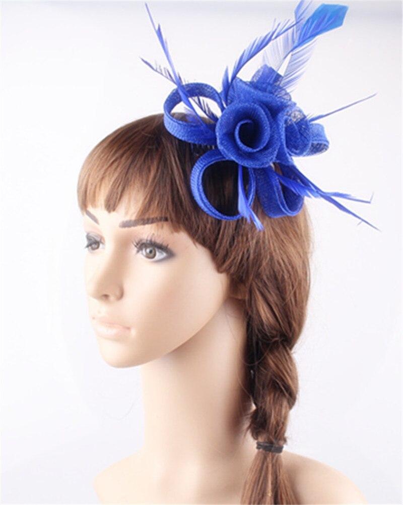 Royal blue DIY small roses fascinators with hair comb ...