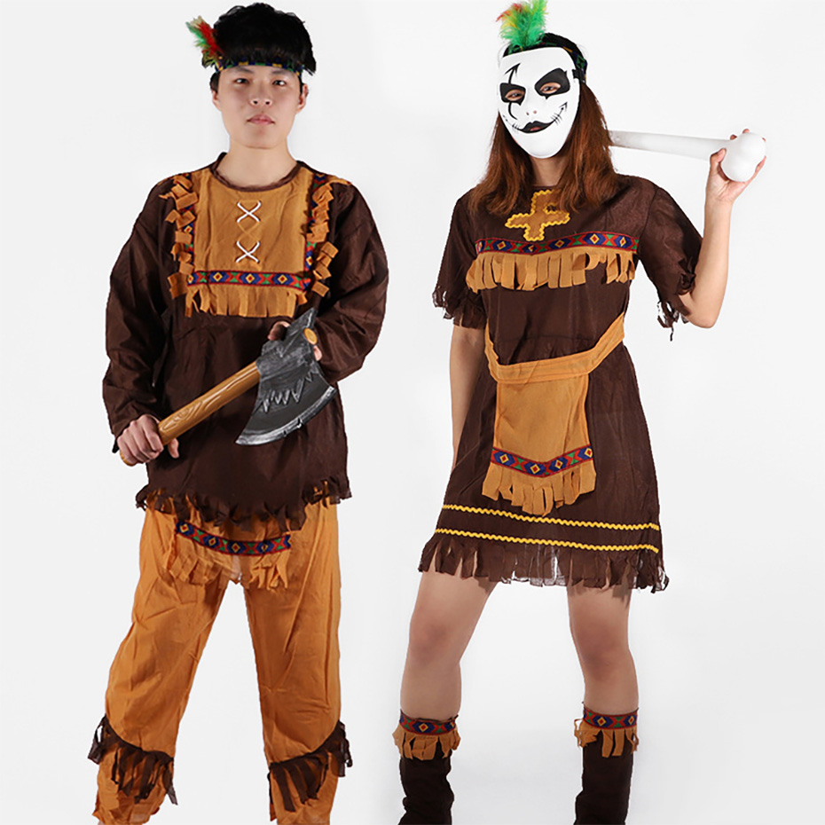 Company annual meeting adult performance service cosplay original male and female indigenous African Indian savage chieftain cos