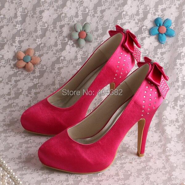 ФОТО High Heel Bridal Shoes Wedding Fuchisa Bow Backside with Rhinestones