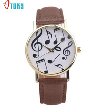 Casual Musical Notes Women Men Watches PU Leather Band Analog Quartz Dial Wrist Watch Creative Apr17