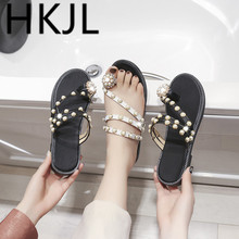HKJL Slipper lady 2019 new style summer fashion outside wear beach shoes flat bottom water drill beaded sandals A354