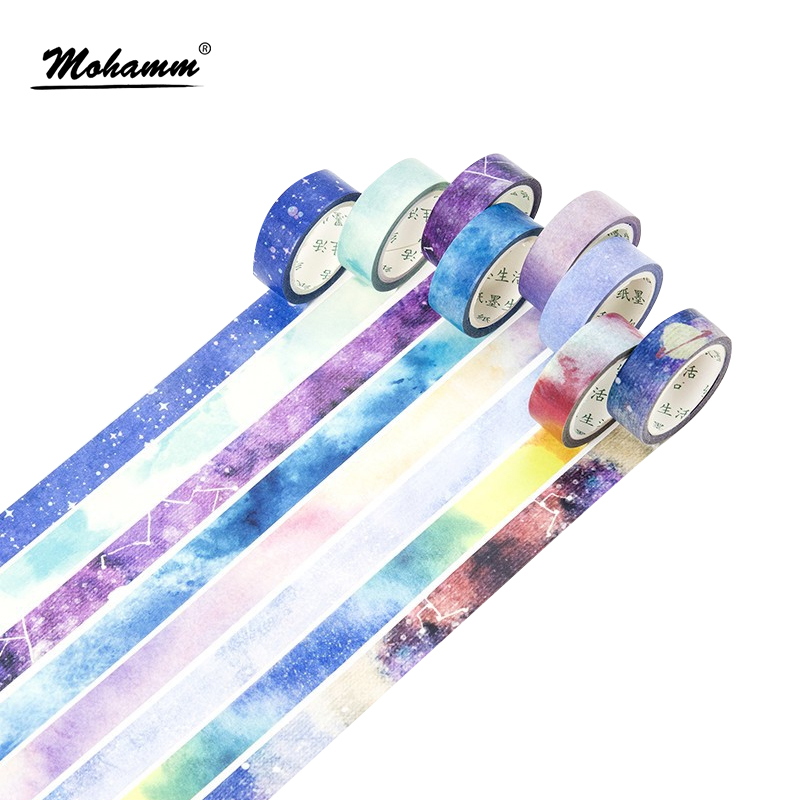 Creative Cute Dream Sky Japanese Decorative Adhesive Washi Tape Diy Scrapbooking Masking Tape School Office Supply Stationery 2017 new arrival masking decorative tape day of the week black white school stationery scrapbooking tool office adhesive tape 7m