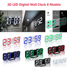Hot 3D LED Wall Clock Modern Digital Table Desktop Alarm Nightlight Saat Home Living Room Office 24 or 12 Hour