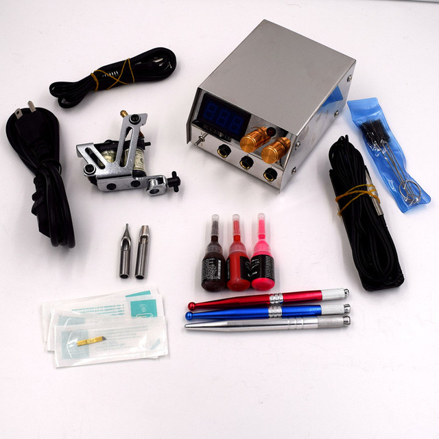Complete Tattoo Kits for Beginner Body Tattoo Art 1 Tattoo Machine Guns Power Supply 3Colors Tattoo Inks 10 Needles