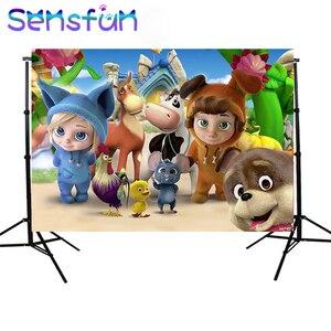 Image 1 - Sxy1480 Hoạt Hình Dave Và Ava Sơ Sinh Trẻ Em 1st Sinh Nhật Bối Cảnh Cho Bé Trai Nền Cho Studio Ảnh 7x5FT