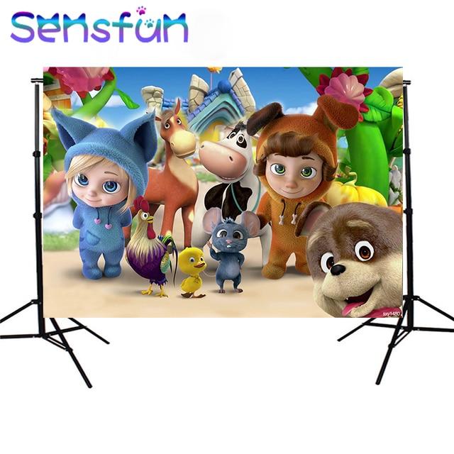 Sxy1480 Hoạt Hình Dave Và Ava Sơ Sinh Trẻ Em 1st Sinh Nhật Bối Cảnh Cho Bé Trai Nền Cho Studio Ảnh 7x5FT