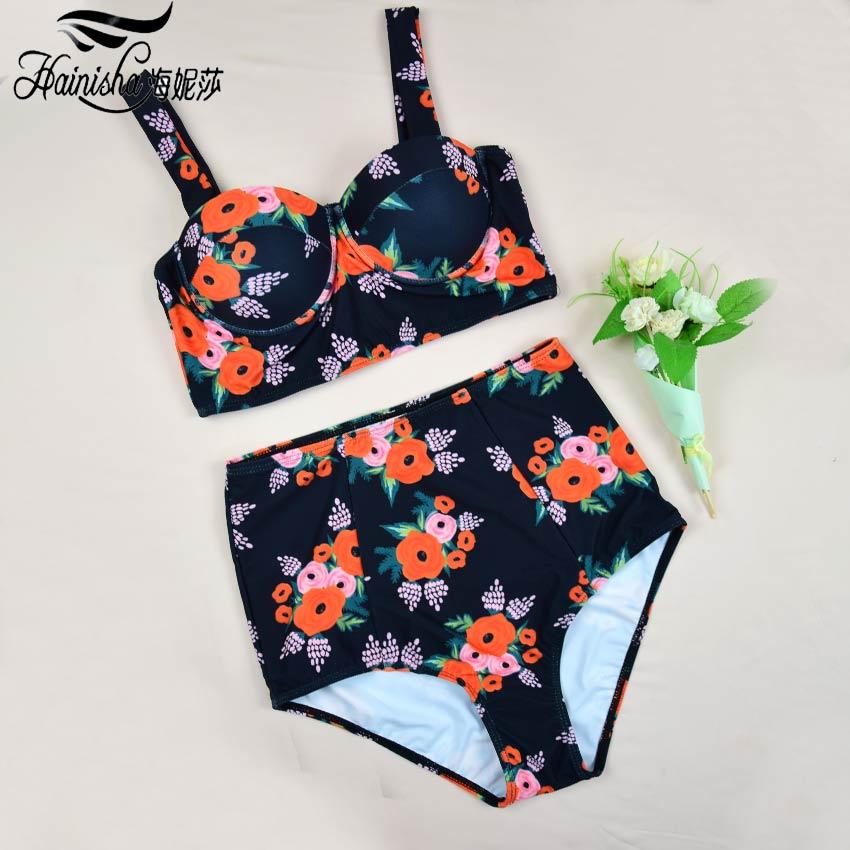 Bandeau Sexy Bikini Women Swimsuit Push Up Backless Bodysuit Print Floral Solid High Waist Brazilian Bikini Set Bating Suit