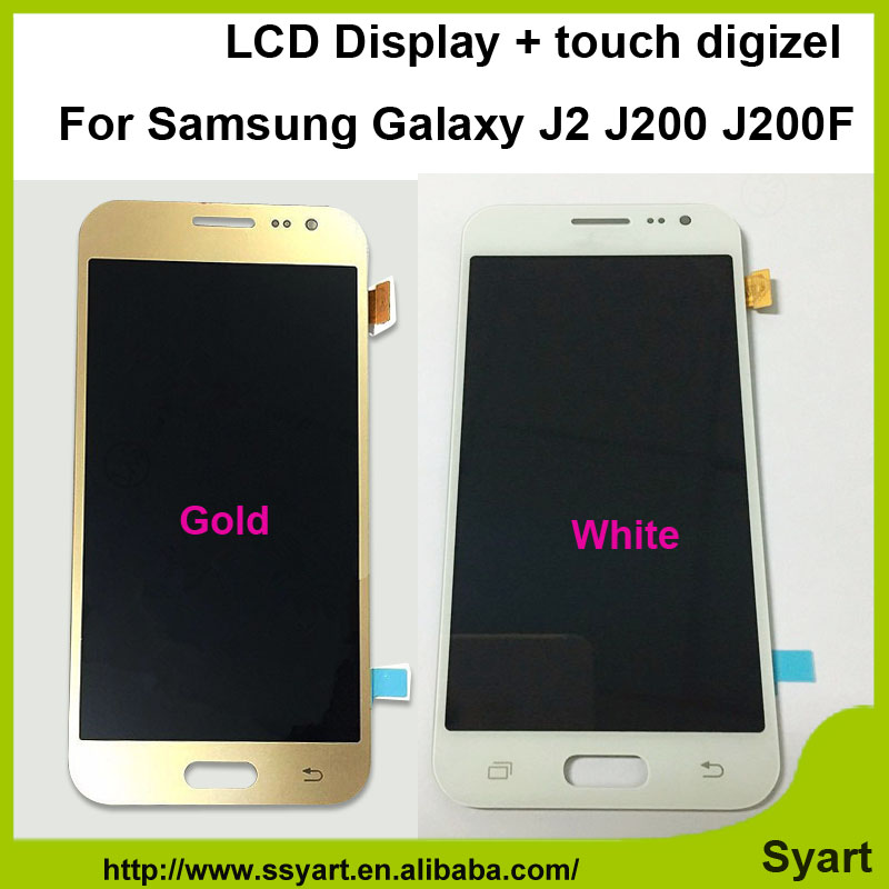 ФОТО 10pcs/lot Free via fast DHL shipping Gold white For Samsung Galaxy J2 J200F J200Y lcd display+Touch Screen +Digitizer Assembly