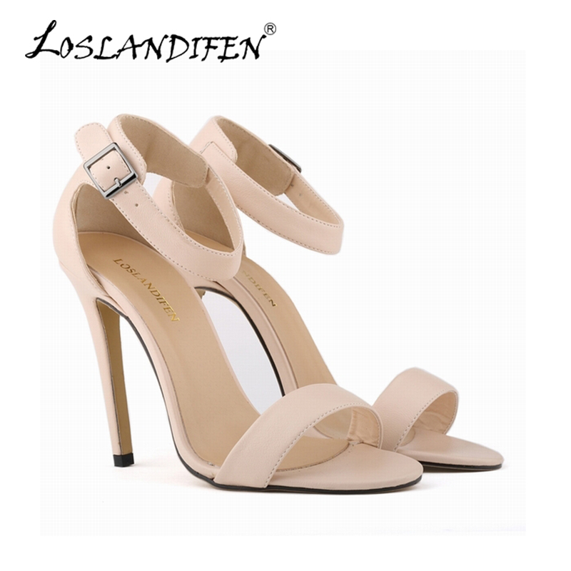 d995b4bca3dc Sexy Buckle Nude Pumps Women Matte Black High Heels Shoes Open Toe Ankle  Strap Sandals Women Wedding Party Shoes US4-11 102-3MA - aliexpress.com -  imall.com