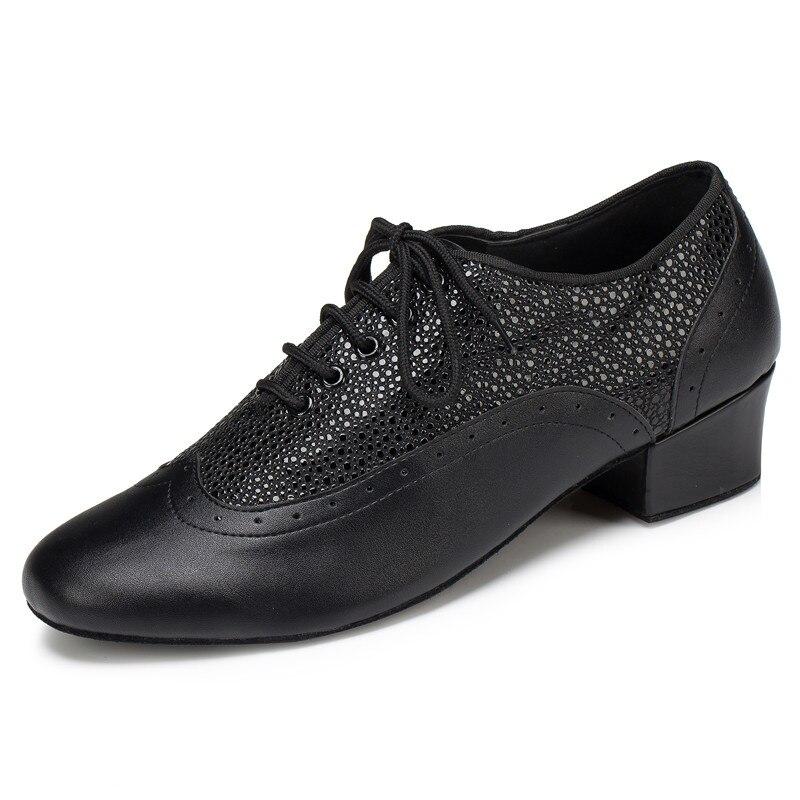 Hommes professionnels Tango Salsa salle de bal chaussures de danse latine avec semelle en daim 4.5 cm talons en cuir synthétique