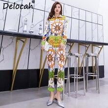 Delocah Women Spring Summer Set Runway Fashion Designer Batwing Sleeve Gorgeous Crystal Beading Vintage Printed Pants Two Suit