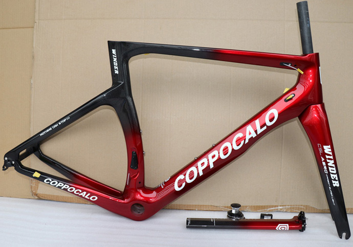 COPPOCALO Carbon-Road-Frame BB30 Glossy BSA XXS XL Black 3K Red title=