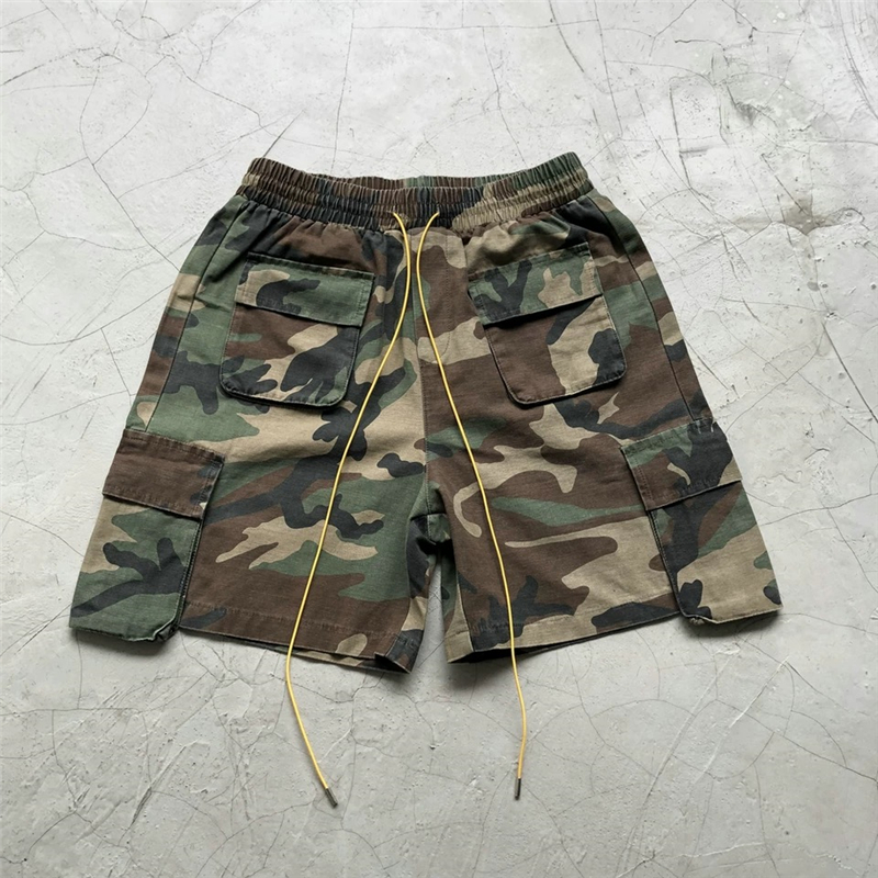 2019SS Justin Bieber Military Camouflage Cargo Shorts Men Loose Fit Drawstring Sweat Short Streetwear Six-pocket Styling