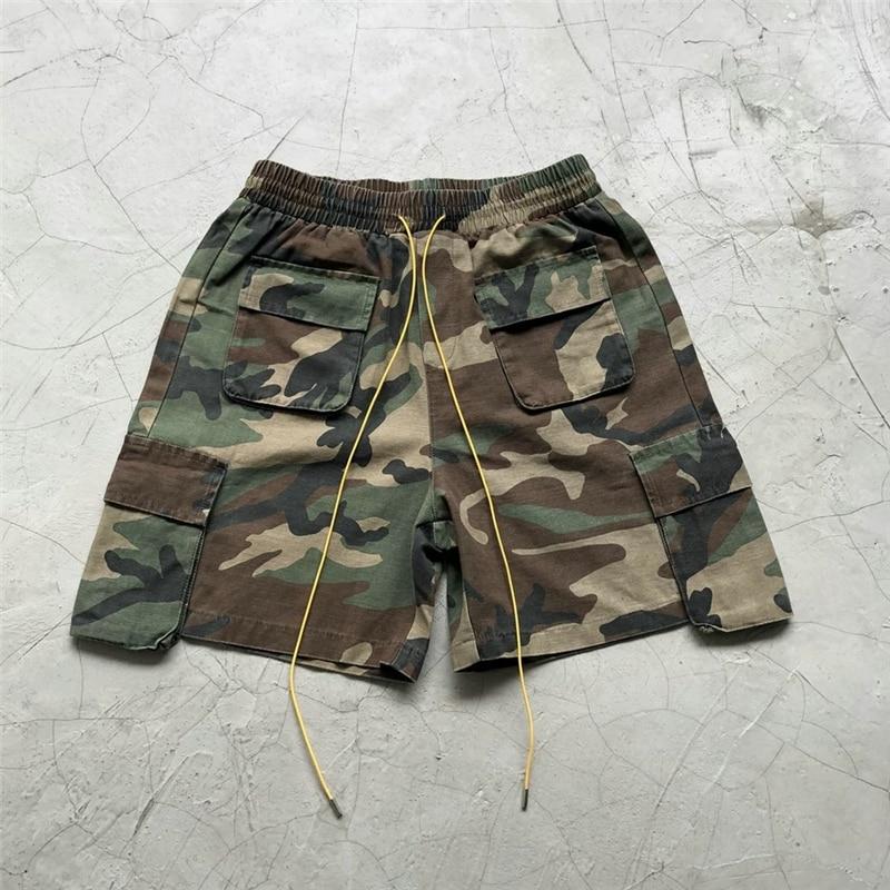 2019SS Justin Bieber Military Camouflage Cargo Shorts Men Loose Fit Drawstring Sweat Short Streetwear Six-pocket Styling