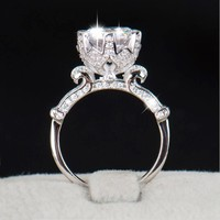 YANHUI Genuine 100 Real 925 Sterling Silver Ring Jewelry Classic Six Claws Set 6mm SONA CZ