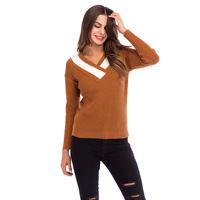 Womens Winter V Neck Patchwork Contrast Color Long Sleeves Knit Crochet Sweater for Woman Lady Autumn Fall Pullover Top Sweaters