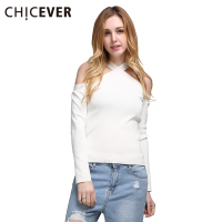 CHICEVER Sex Halter V Neck Off Shoulder Knitted T Shirt Women Tops Long Sleeves 2017 Spring