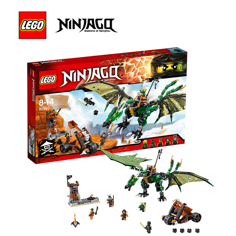 Lego ninjago building bricks toy The Green NRG Dragon Building blocks Toy for children LEGC70593